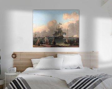 Die IJ für Amsterdam mit der Fregatte De Ploeg von Atelier Liesjes