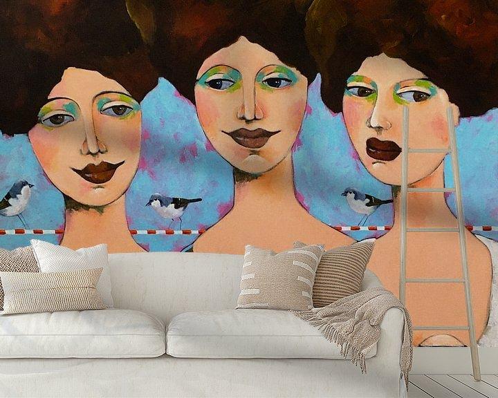 Beispiel fototapete: 3 Damen und ihre Freunde von Eveline van Rooy