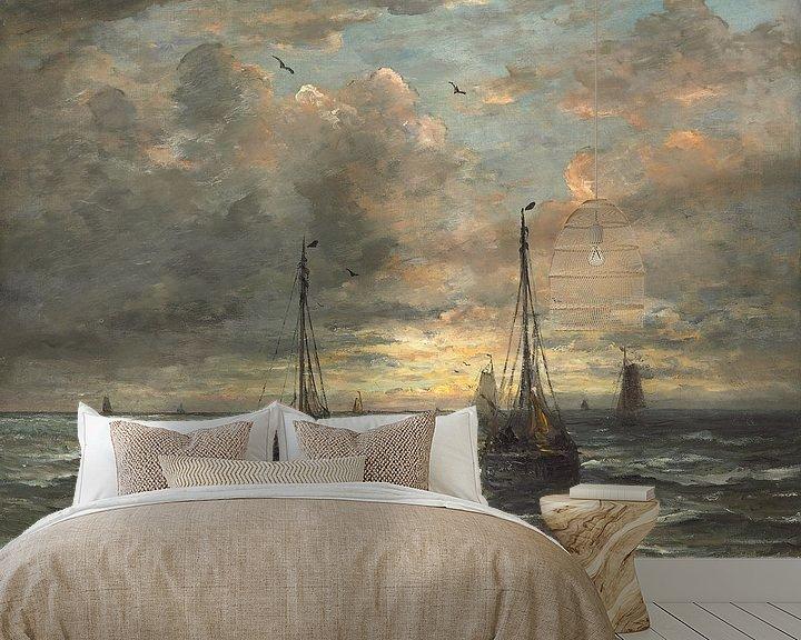 Sfeerimpressie behang: Terugkeer van de vissersvloot.,Hendrik William Mesdag