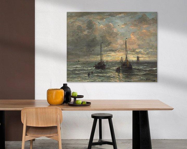 Sfeerimpressie: Terugkeer van de vissersvloot.,Hendrik William Mesdag