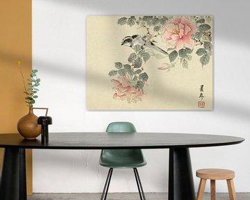 Schwarz-weißer Vogel zwischen rosa Rosen, Imao Keinen - 1892