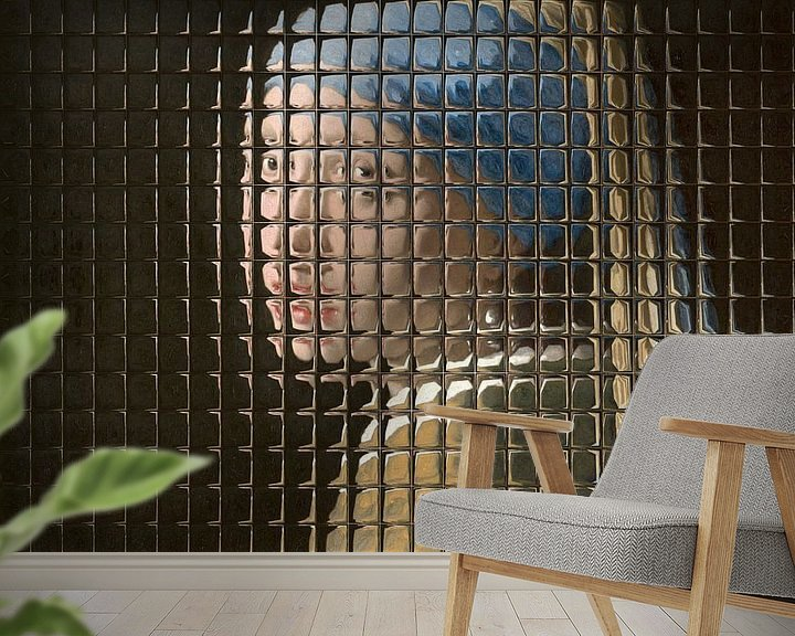 Sfeerimpressie behang: Meisje met de Parel - Through the Window Edition van Marja van den Hurk