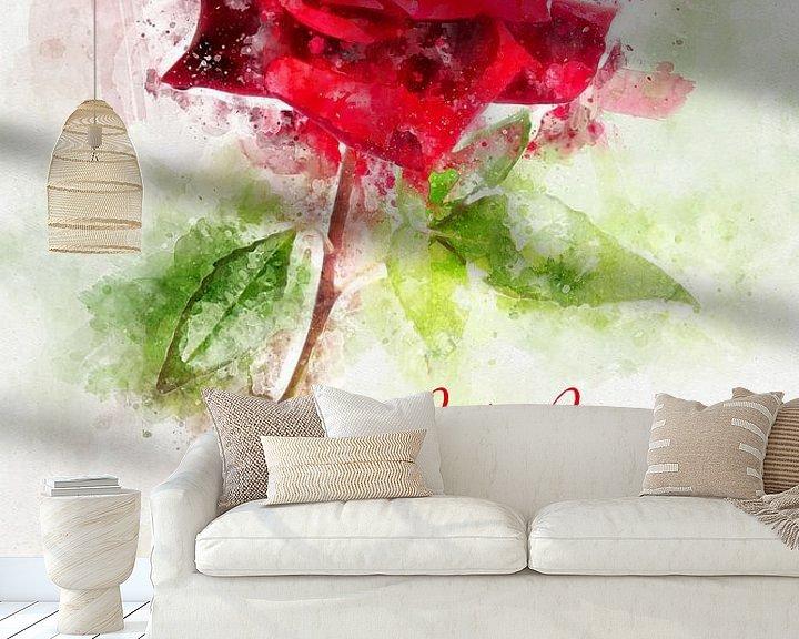 Beispiel fototapete: Rote Rose von Theodor Decker