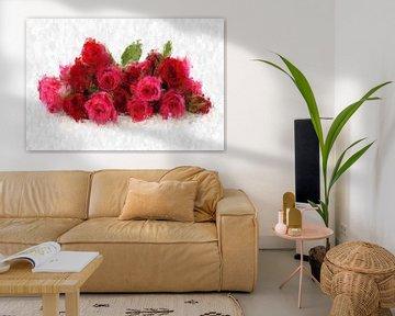 Un bouquet de roses rouges sur Theodor Decker