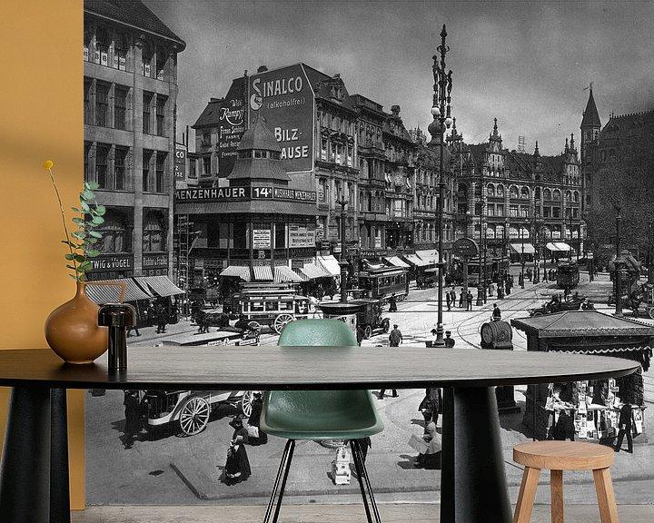Sfeerimpressie behang: Berlijn, Spittelmarkt, 1909 van Atelier Liesjes