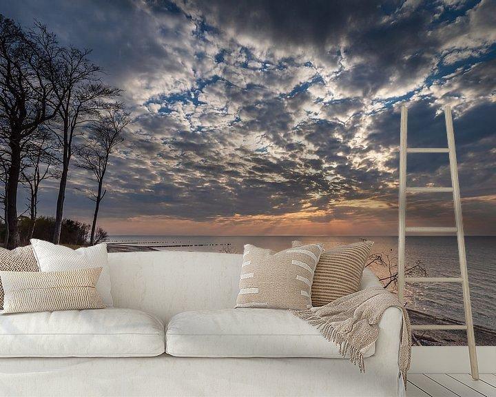 Beispiel fototapete: Strand im Sonnenuntergang an der Küste der Ostsee bei Graal Müritz von Rico Ködder
