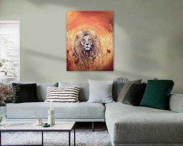Löwe im Erntefeld... von Els Fonteine