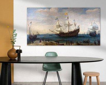 Oostindiëvaarders voor de kust van Atelier Liesjes