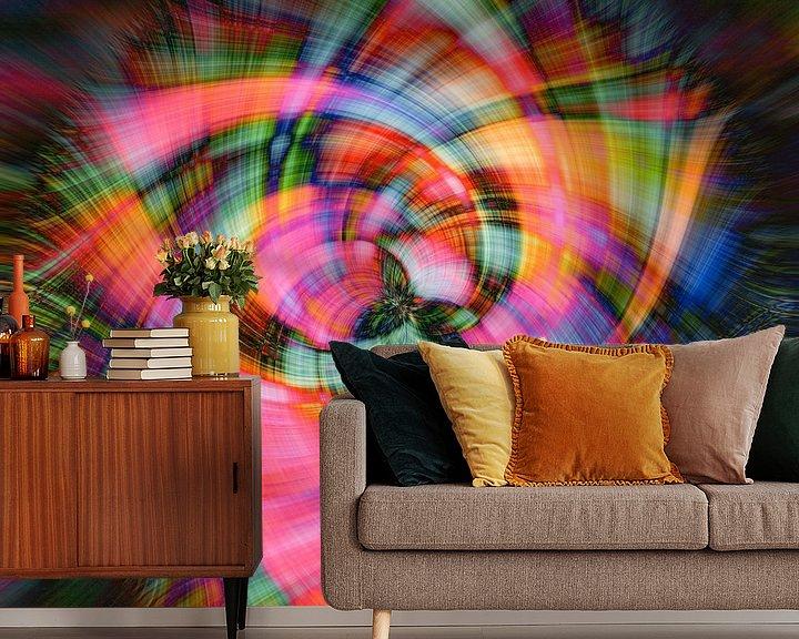 Sfeerimpressie behang: Abstracte bloem van Carla van Zomeren