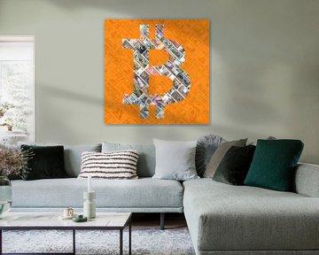 """""""Bitcoin over bills"""" Art du bitcoin - logo derrière les vieux billets de banque discontinu"""