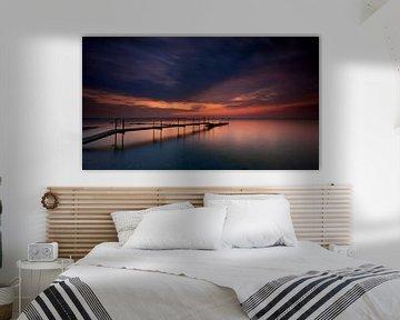 Zonsondergang aan de Deense kust van Jenco van Zalk