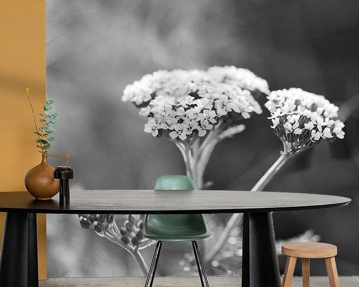 Sfeerimpressie behang: Duizendblad plant met witte bloemen van Ebelien