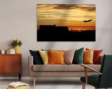 Prachtige zonsondergang op Schiphol van Robin Smeets