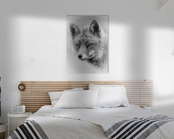 Beispiel: Porträt eines Fuchses in Schwarzweiß von Marjolein van Middelkoop