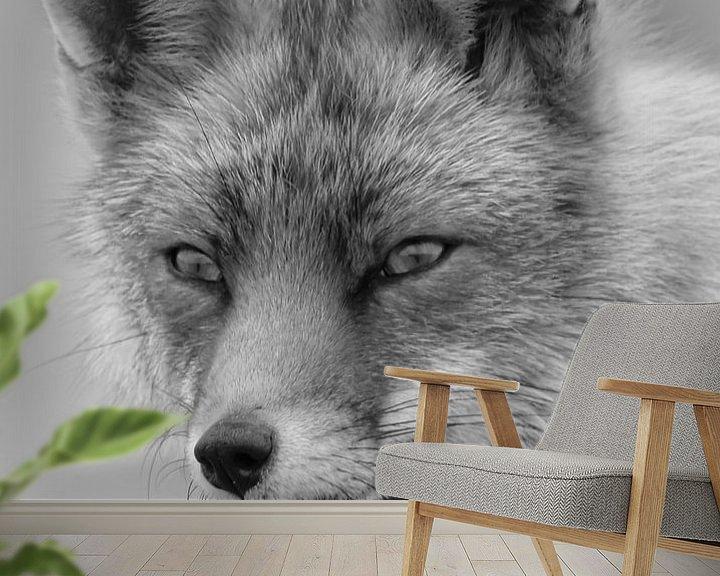 Beispiel fototapete: Porträt eines Fuchses in Schwarzweiß von Marjolein van Middelkoop