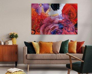 Mischtechnik mit verschiedenen Blüten in Rot und Violett. von Therese Brals