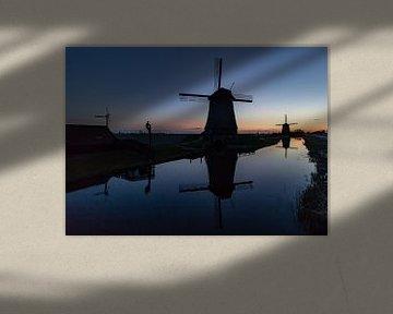 Die Mühlen am Schermerhorn bei Sonnenuntergang von Paul Veen
