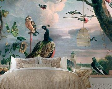 Paleis van Amsterdam met exotische vogels, Melchior d'Hondecoeter