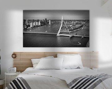 Einzigartige Ansicht Erasmus-Brücke &Ampel; Skyline Rotterdam (schwarz-weiß) von Mark De Rooij