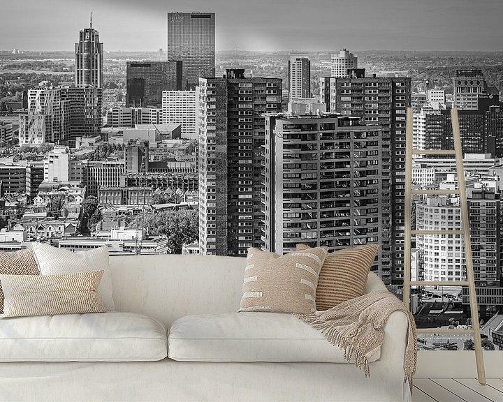 Impression: Skyline Rotterdam City Centre (noir et blanc) sur Mark De Rooij