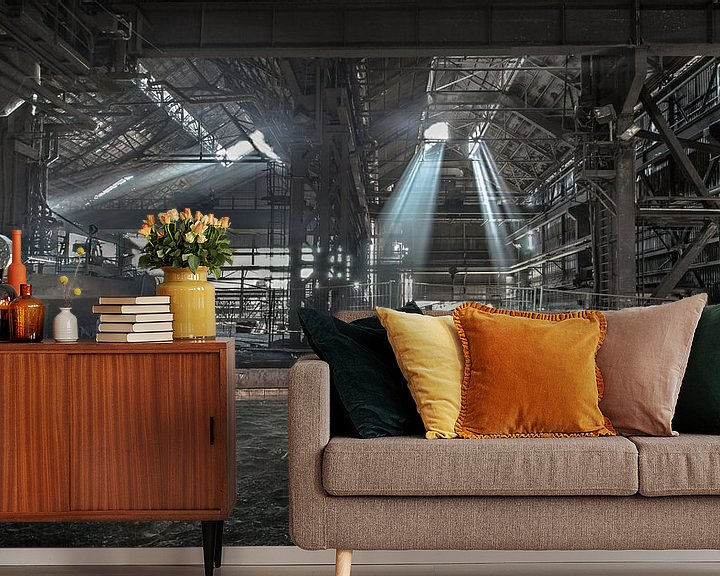 Sfeerimpressie behang: Oude staalfabriek van Olivier Photography