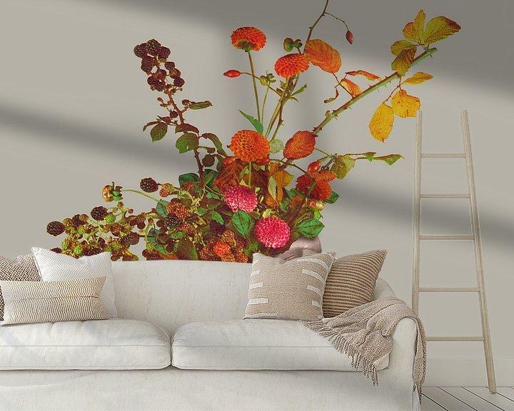 Sfeerimpressie behang: Hoed - Bloemen en Bramen (M) van toon joosen