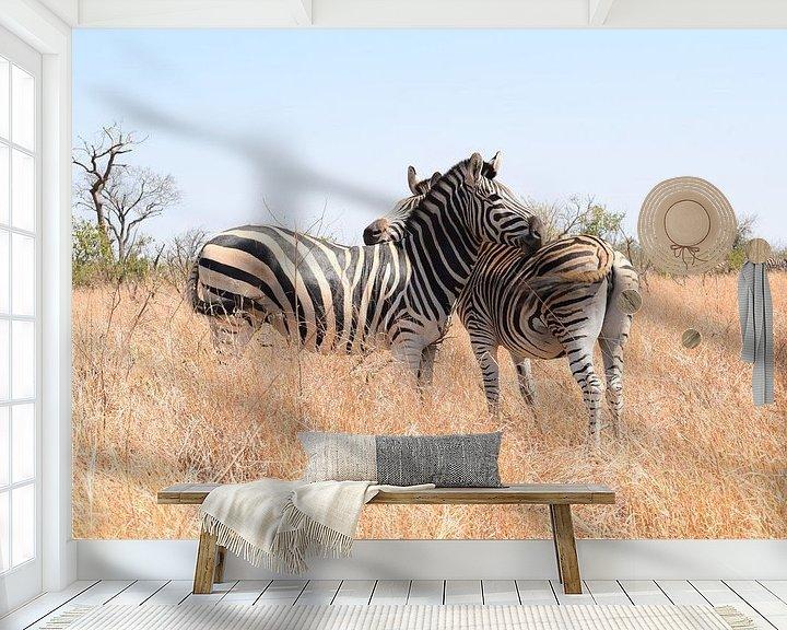 Beispiel fototapete: Zebras im Krüger-Nationalpark, Südafrika von Elles van der Veen