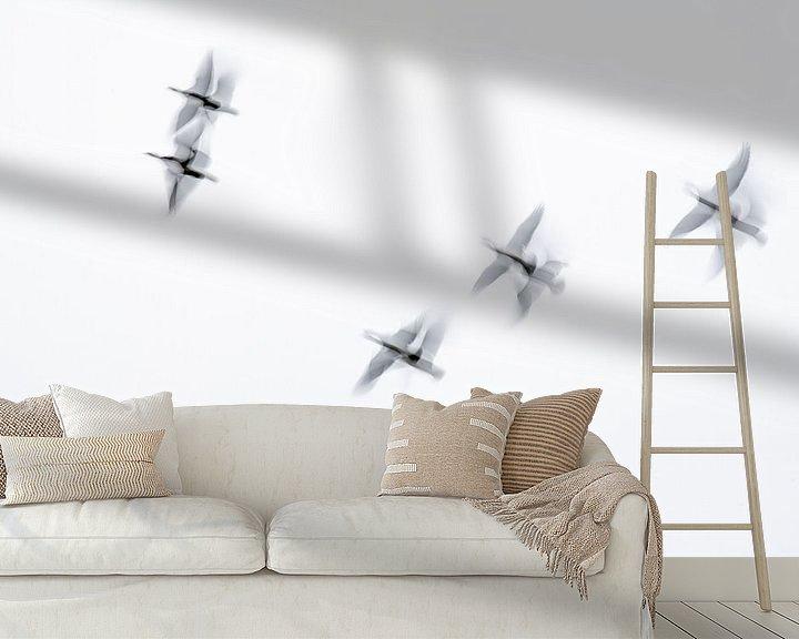 Sfeerimpressie behang: zie ze vliegen van Petra Slingenberg