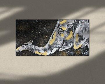 De olifant en de vogel van Kathleen Artist Fine Art