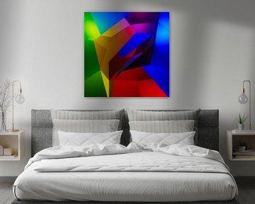 Buntes kubistisches 3D-Kunstwerk mit einer Figur, die die Sonne anbetet von Pat Bloom - Moderne 3D, abstracte kubistische en futurisme kunst