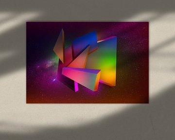 Futuristische kosmische 3D-Komposition mit Blöcken und Dreiecken von Pat Bloom - Moderne 3D, abstracte kubistische en futurisme kunst