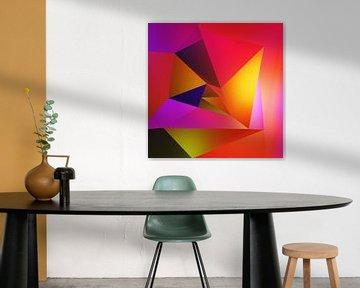 Abstrakte farbenfrohe dynamische Komposition von Pat Bloom - Moderne 3D, abstracte kubistische en futurisme kunst