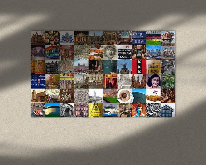 Impression: Tout ce qui vient d'Amsterdam - collage d'images typiques de la ville et de l'histoire sur Roger VDB