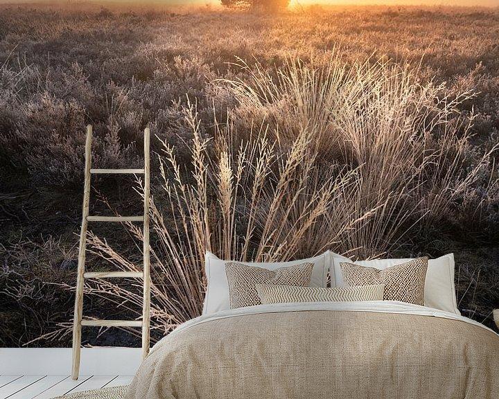 Sfeerimpressie behang: Mistige zonsopkomst op de Veluwe met rijp van Rick Kloekke