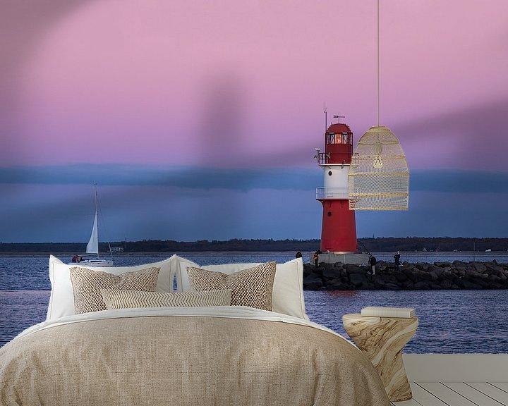 Beispiel fototapete: Mole und Segelschiff an der Küste der Ostsee in Warnemünde von Rico Ködder