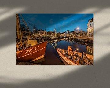 Noorderhaven Groningen bij avondlicht van Annie Jakobs