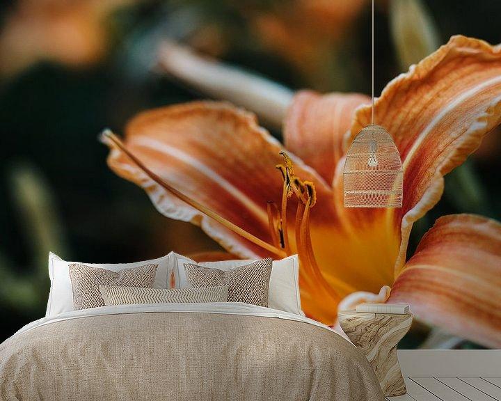 Sfeerimpressie behang: Oranje Lelie van Laura