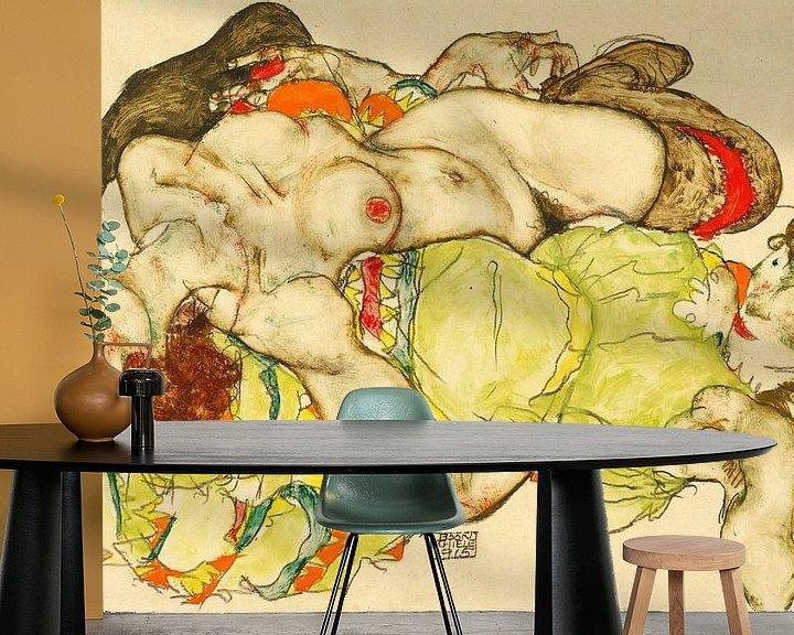 Beispiel fototapete: Weibliche Liebhaberinnen von Egon Schiele, 1915 von Atelier Liesjes
