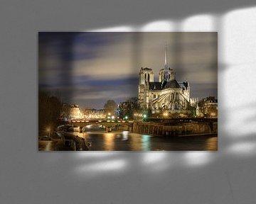 Notre-dame in der Nacht an der Seine von Dennis van de Water