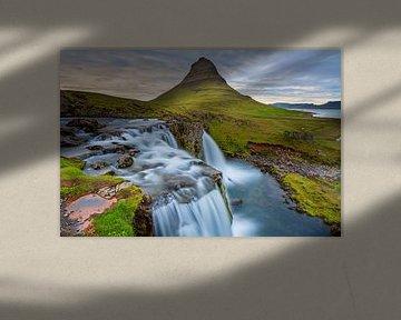Zonsondergang bij Kirkjufellsfoss IJsland