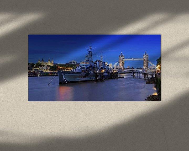 Sfeerimpressie: Londen - Tower Bridge en oorlogsschip HMS Belfast van Frank Herrmann