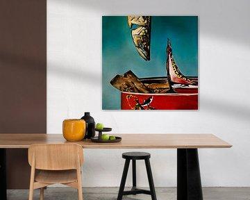 Olieverf schilderij met een vis. van Therese Brals