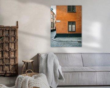 Orange Straßen in Gamla Stan, Stockholm (Schweden)