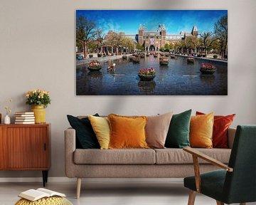 Museumplein in Amsterdam während der 1,5-Meter-Gesellschaft. von Bart Ros