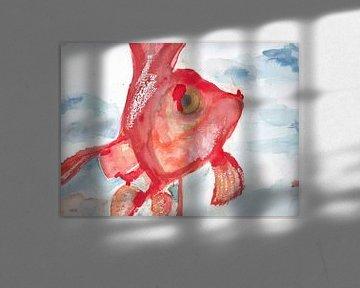 Aquarel van een goudvis
