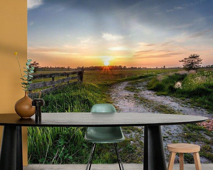 Sfeerimpressie behang: Zonsondergang Leekstermeergebied in De Onlanden met hek van R Smallenbroek