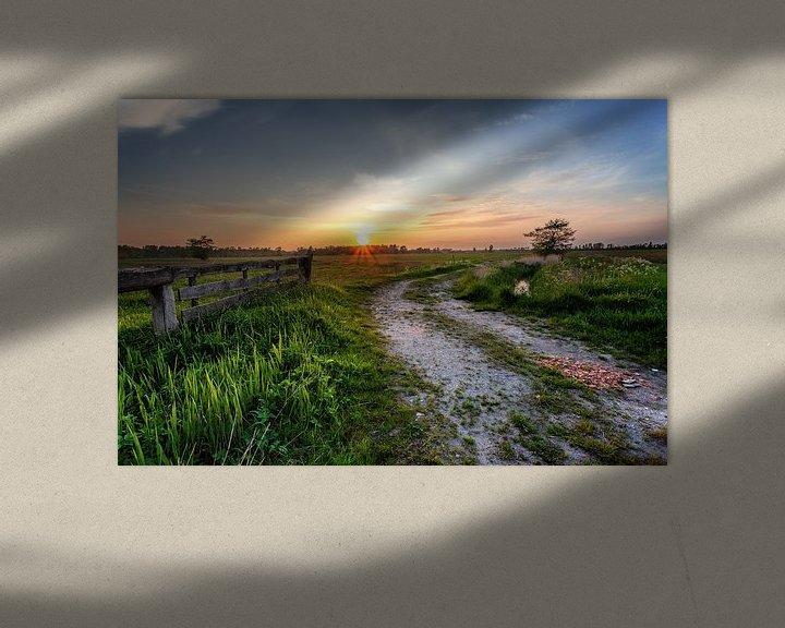 Sfeerimpressie: Zonsondergang Leekstermeergebied in De Onlanden met hek van R Smallenbroek