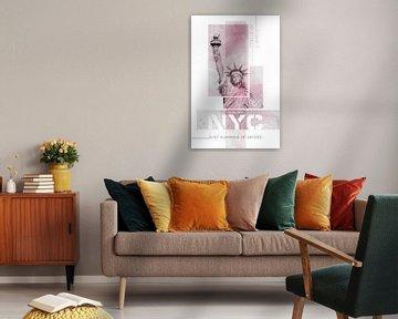 NYC Freiheitsstatue | Marmor pink von Melanie Viola