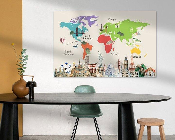 Sfeerimpressie: Wereldkaart met beroemde plaatsen van Creatieve Kaarten