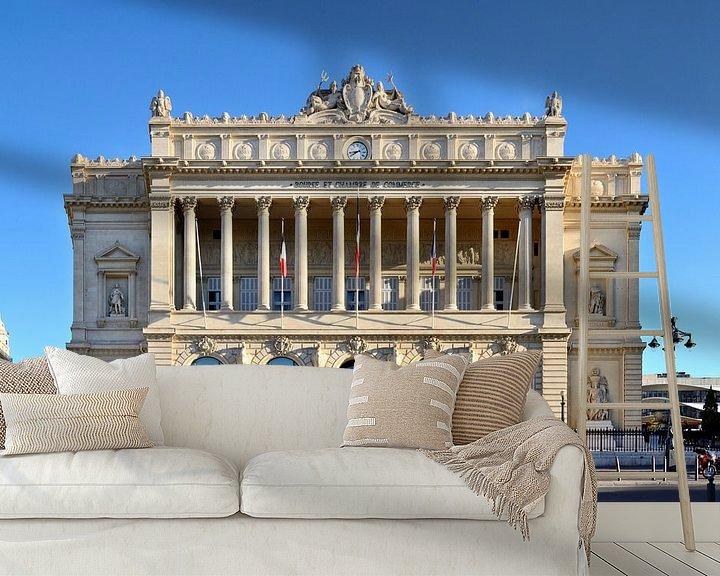 Sfeerimpressie behang: Het Palais de la Bourse in Marseille van Panorama Streetline